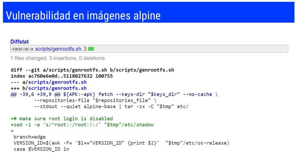 Vulnerabilidad en imágenes alpine