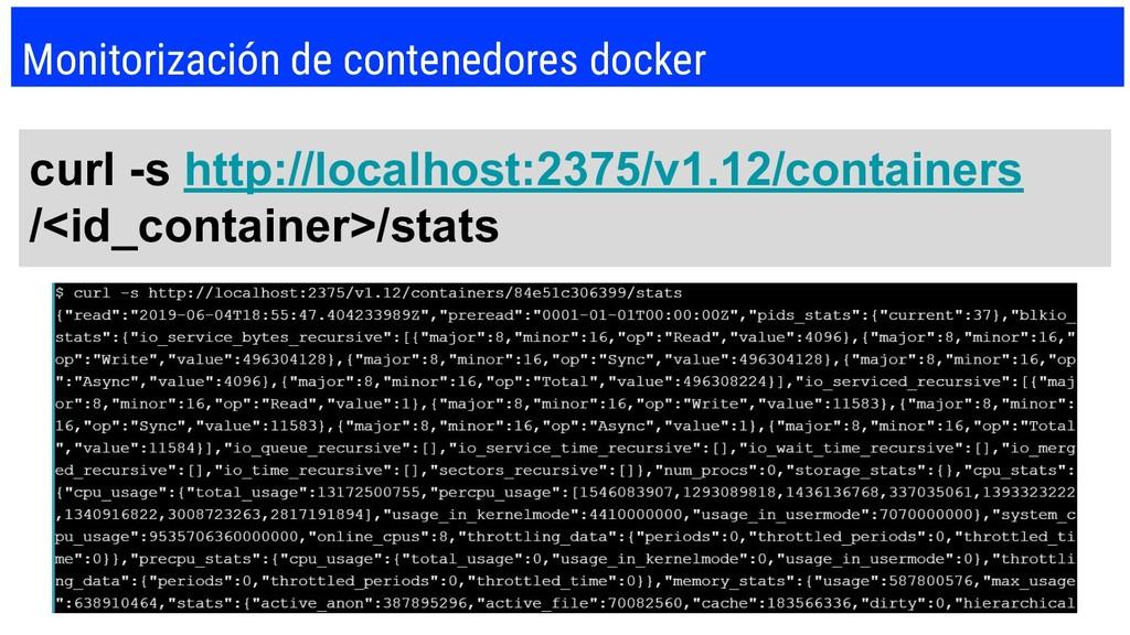 Monitorización de contenedores docker curl -s h...