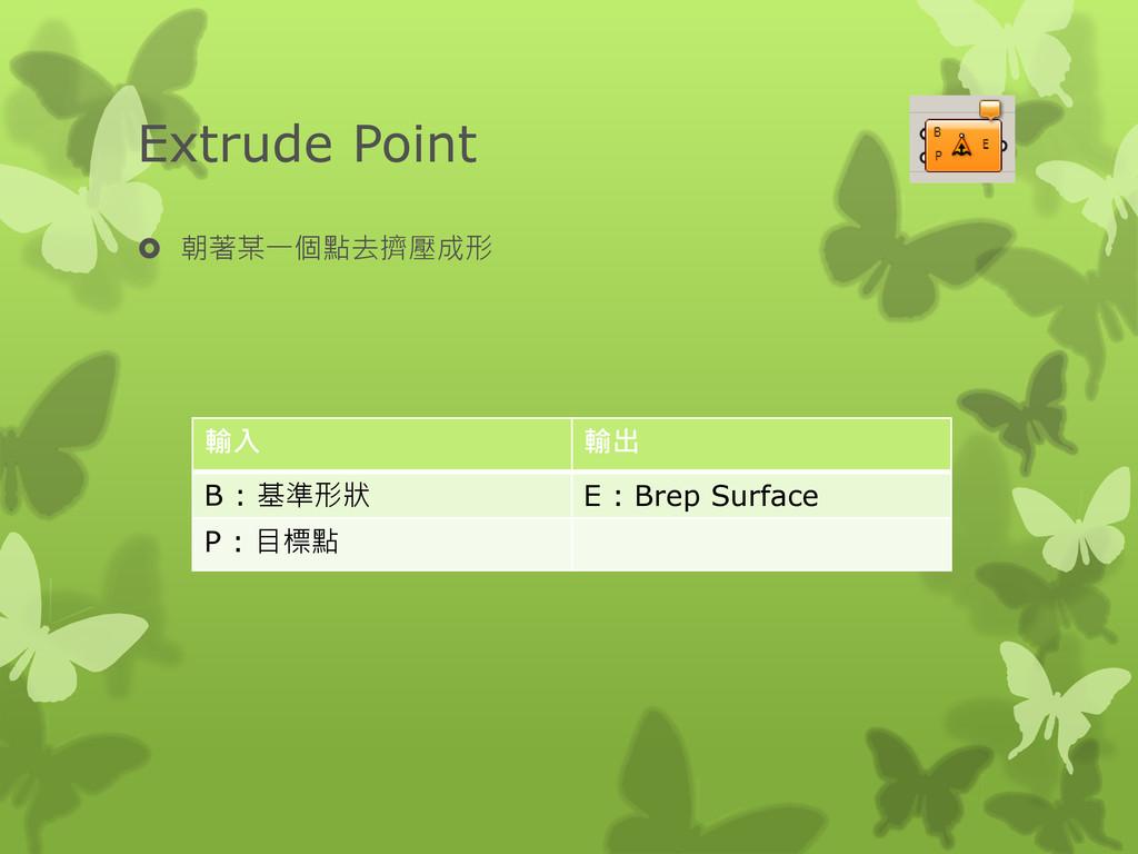 Extrude Point  朝著某一個點去擠壓成形 輸入 輸出 B : 基準形狀 E : ...