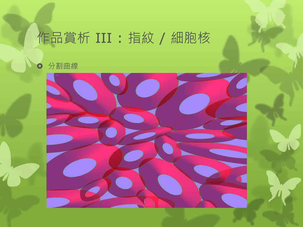 作品賞析 III : 指紋 / 細胞核  分割曲線