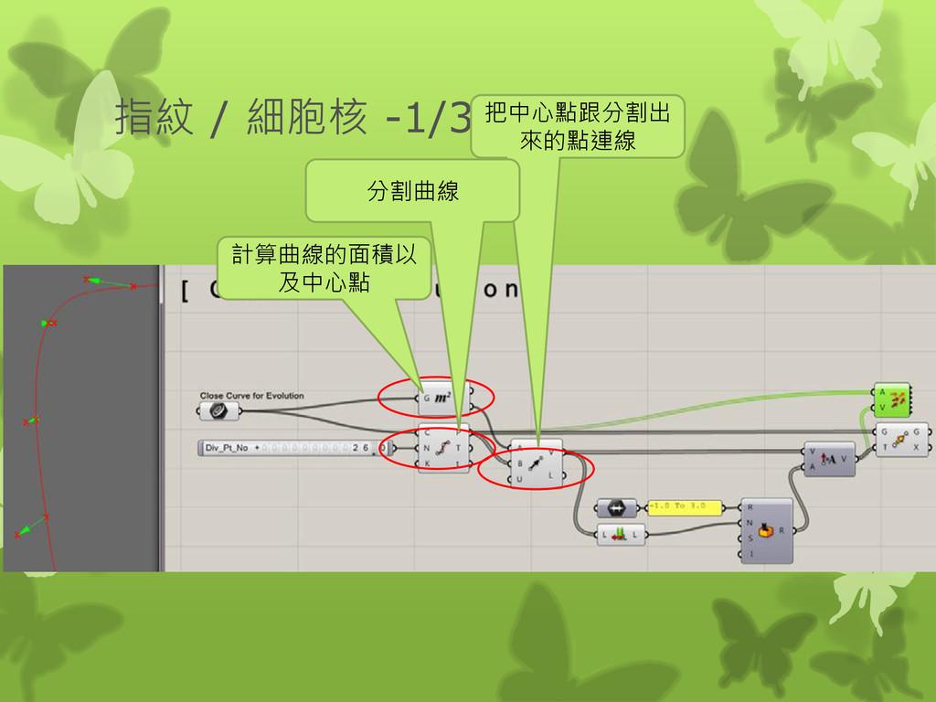 指紋 / 細胞核 -1/3 計算曲線的面積以 及中心點 把中心點跟分割出 來的點連線 分割曲線