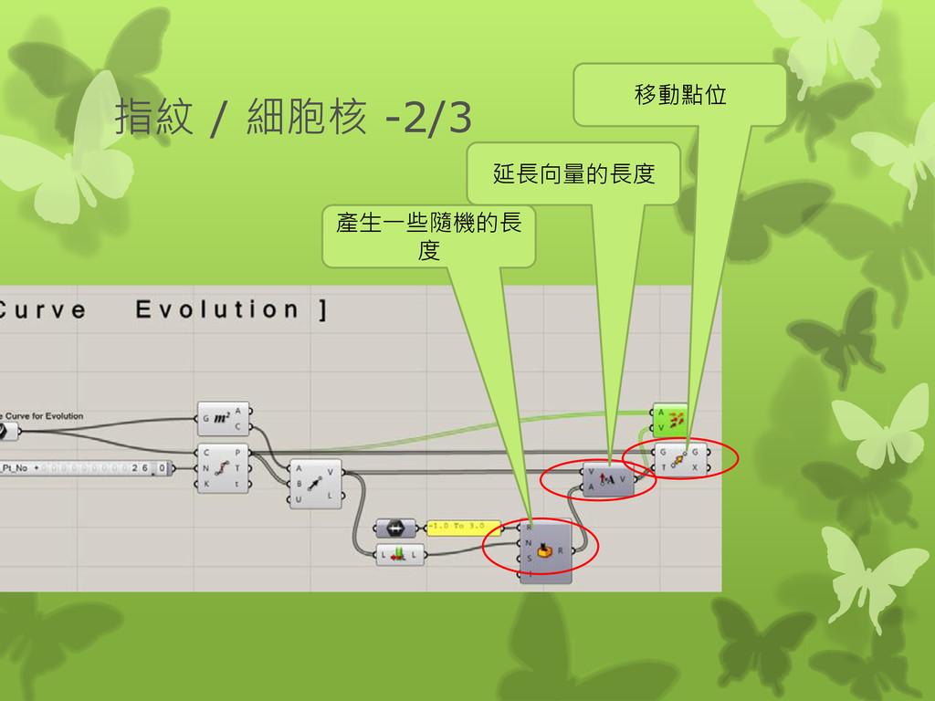 指紋 / 細胞核 -2/3 產生一些隨機的長 度 延長向量的長度 移動點位