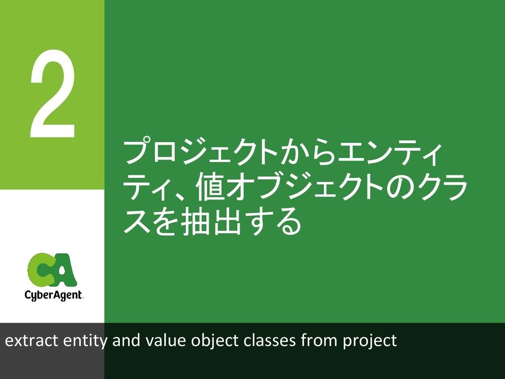 プロジェクトからエンティ ティ、値オブジェクトのクラ スを抽出する extract entit...