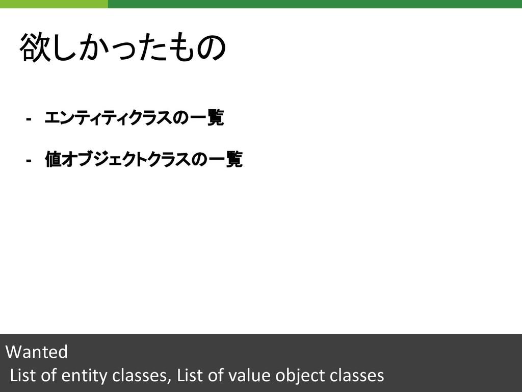 欲しかったもの Wanted List of entity classes, List of ...