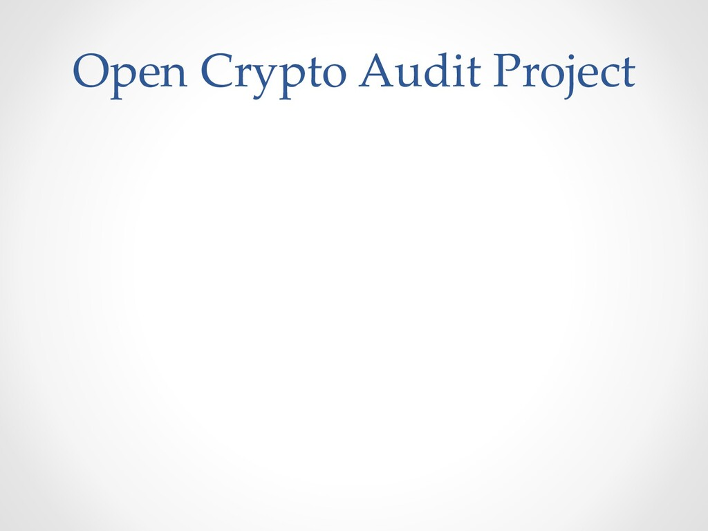 Open Crypto Audit Project