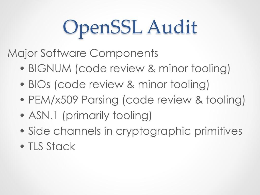 OpenSSL Audit Major Software Components • BIGNU...