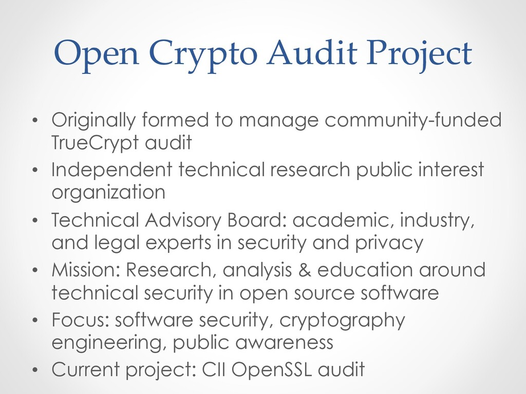 Open Crypto Audit Project •  Originally formed ...