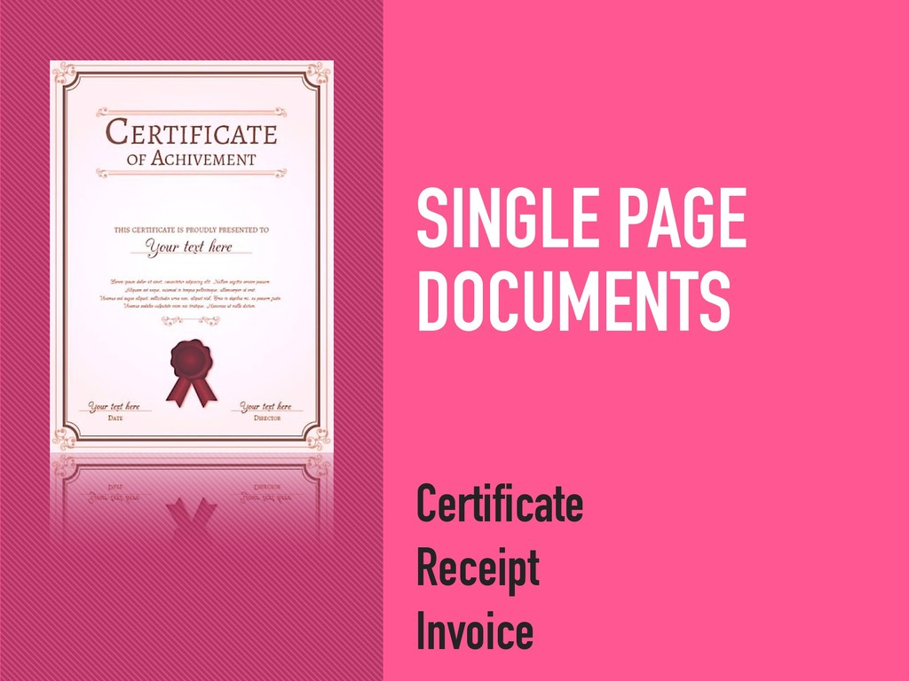 SINGLE PAGE DOCUMENTS Certificate Receipt Invoi...