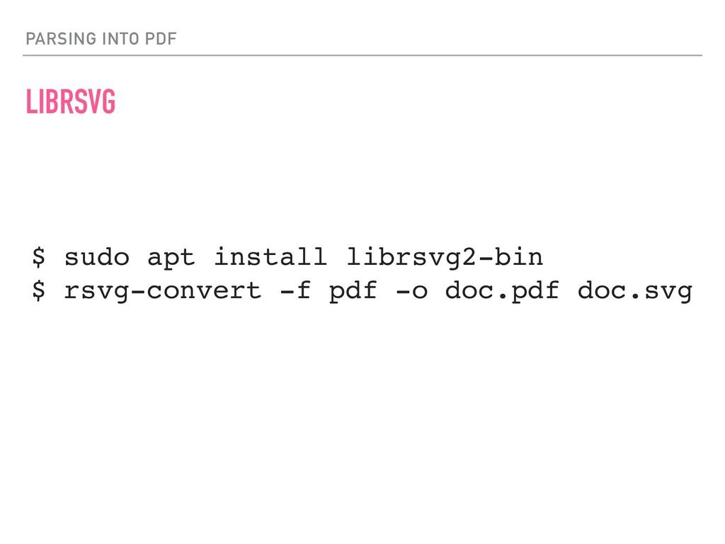 PARSING INTO PDF LIBRSVG $ sudo apt install lib...
