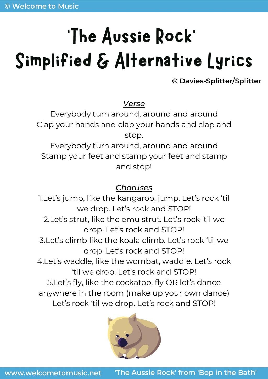 'The Aussie Rock' Simplified & Alternative Lyri...