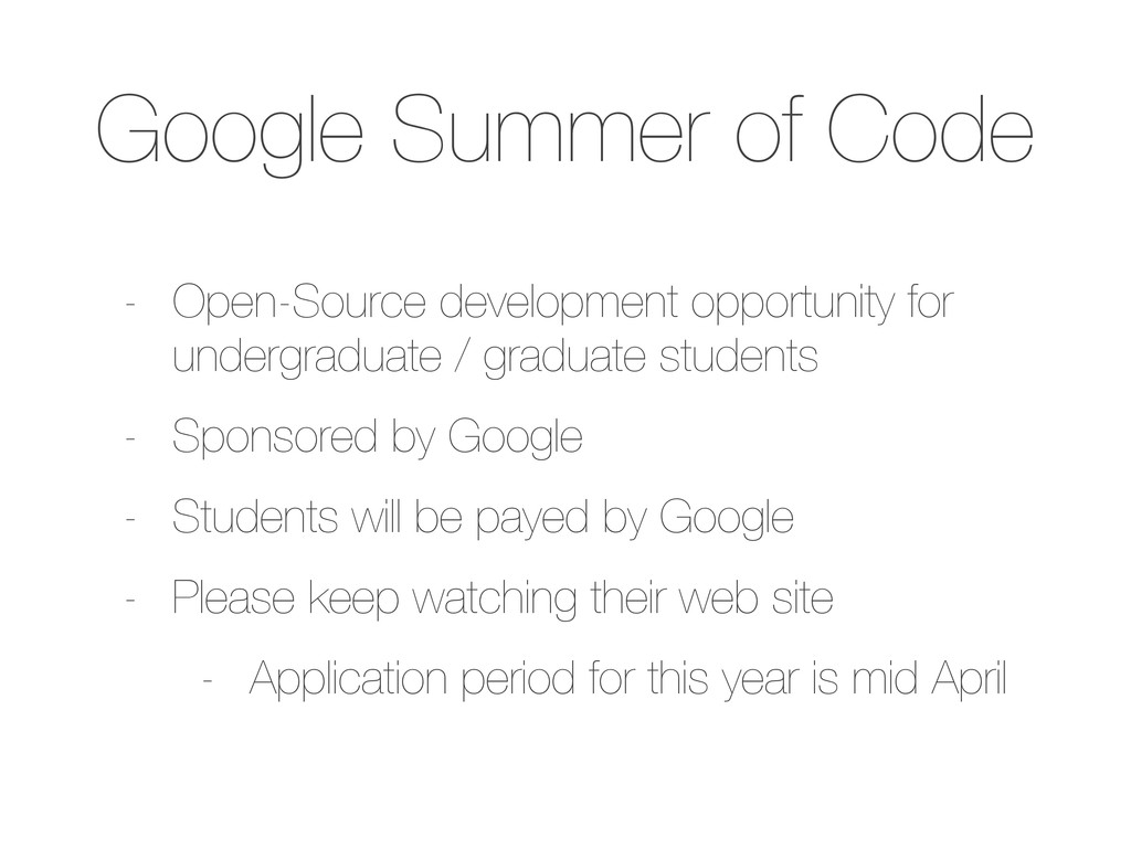 Google Summer of Code - Open-Source development...