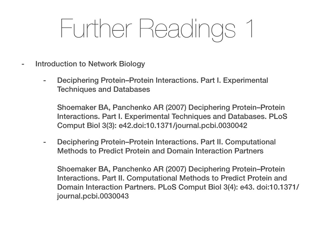 Further Readings 1 - Introduction to Network Bi...