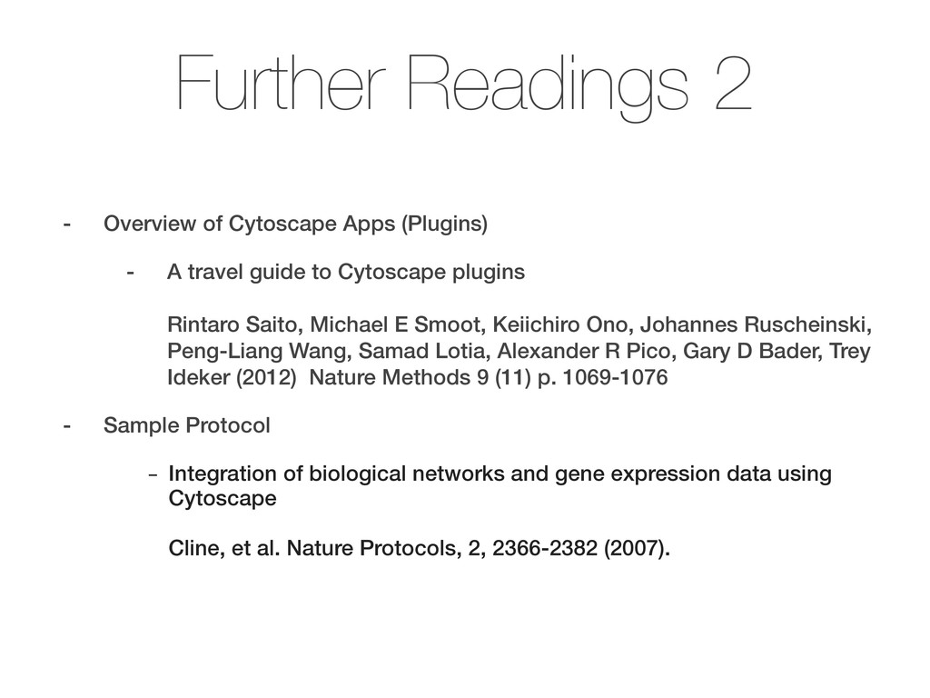 Further Readings 2 - Overview of Cytoscape Apps...