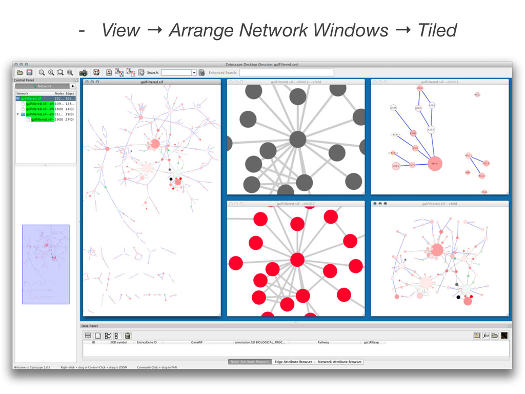 - View → Arrange Network Windows → Tiled