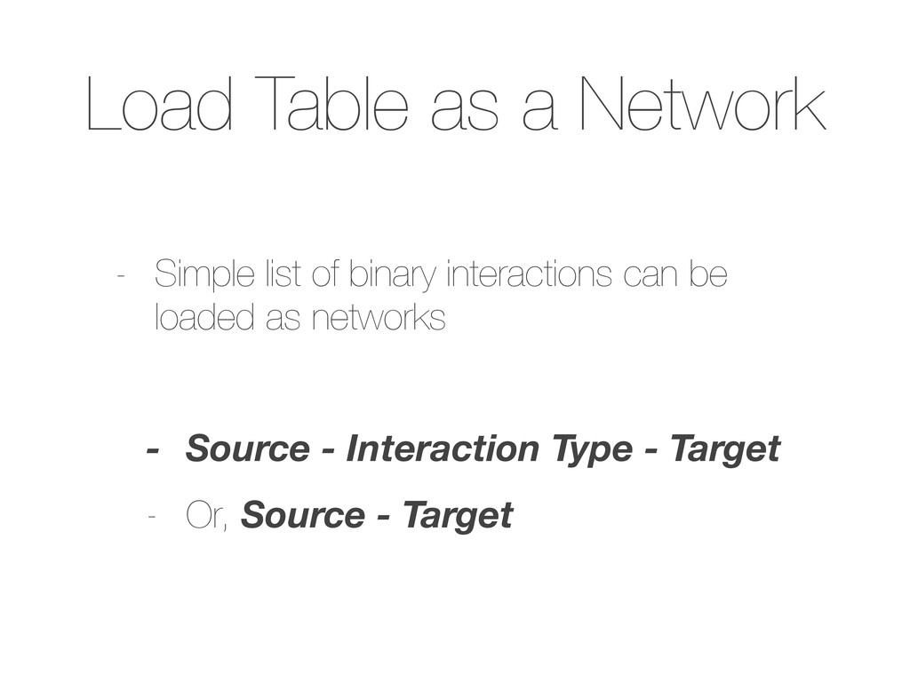 Load Table as a Network - Simple list of binary...