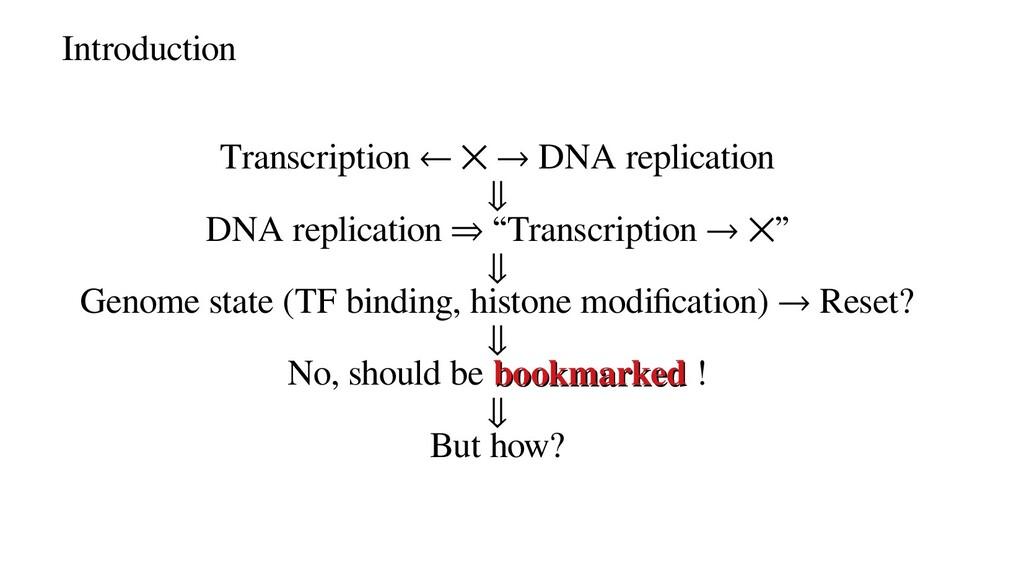 Introduction Transcription ← ⨉ → DNA replicatio...