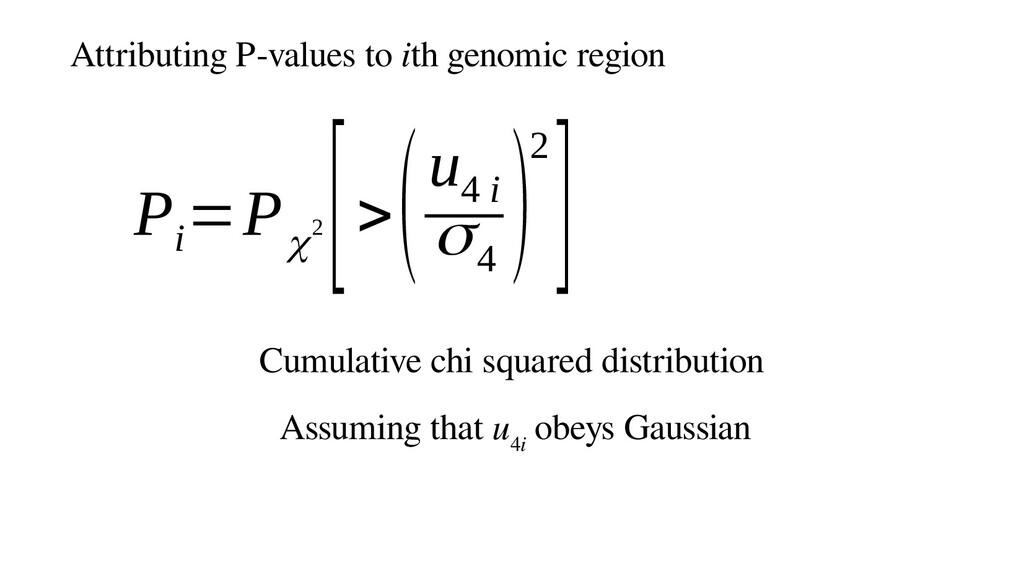 Attributing P-values to ith genomic region P i ...