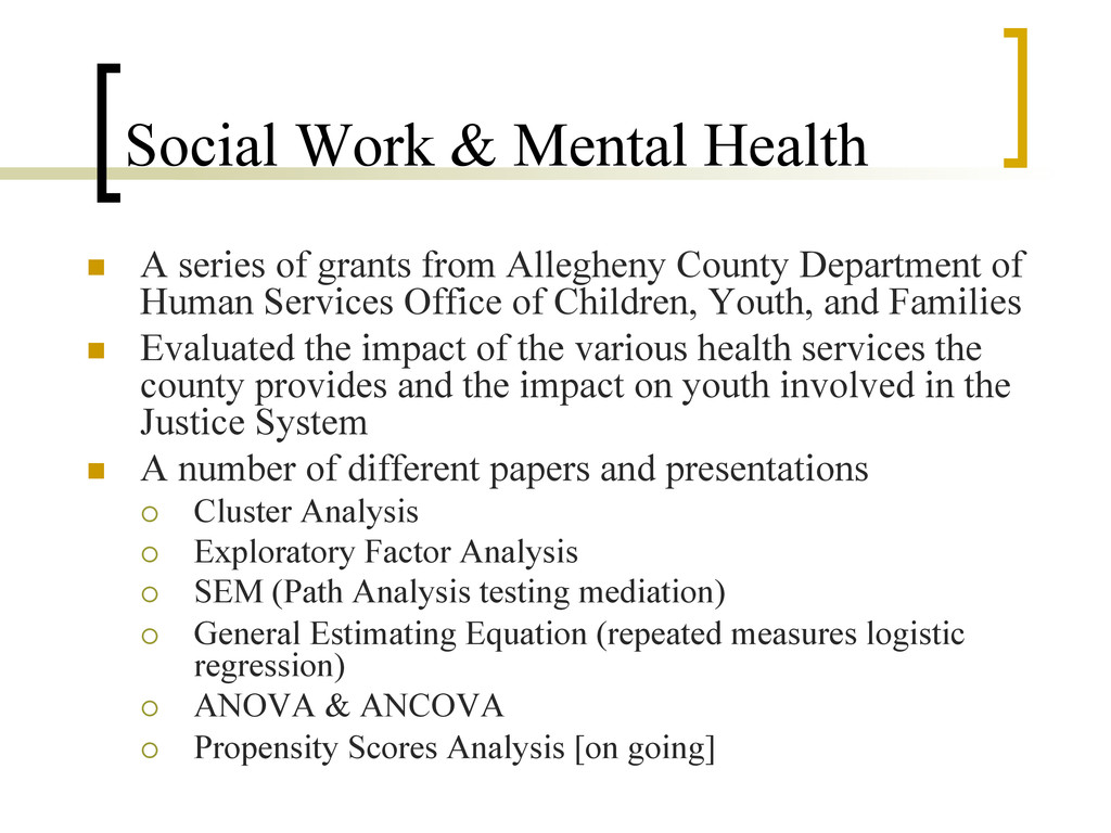 Social Work & Mental Health n  A series of gra...