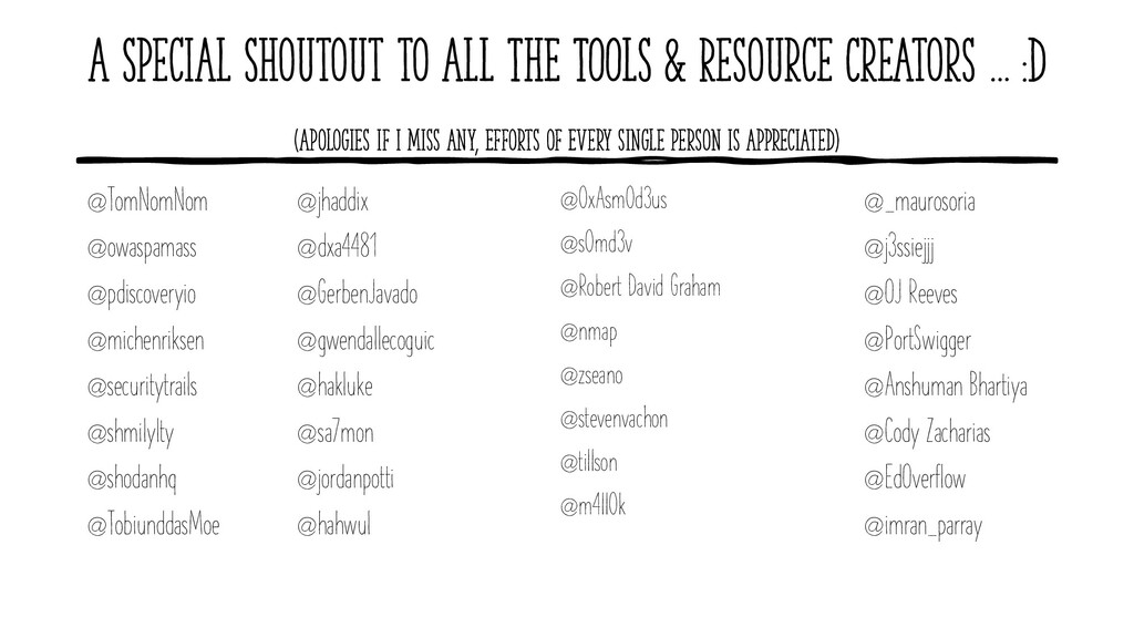 A Special Shoutout to ALL THE TOOLS & Resource ...