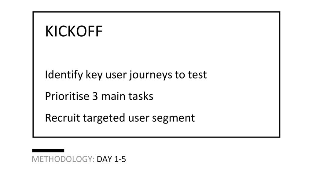 Identify key user journeys to test Prioritise 3...