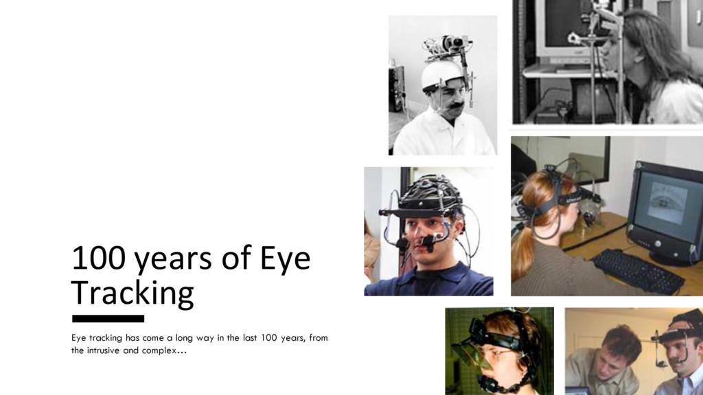 100 years of Eye Tracking Eye tracking has come...