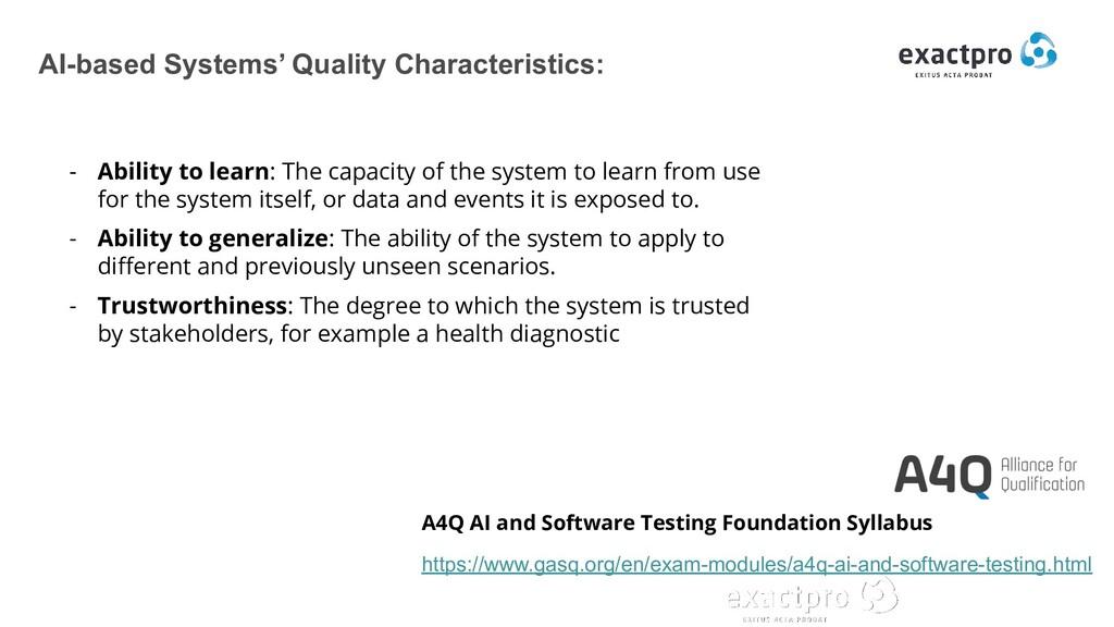 AI-based Systems' Quality Characteristics: - Ab...