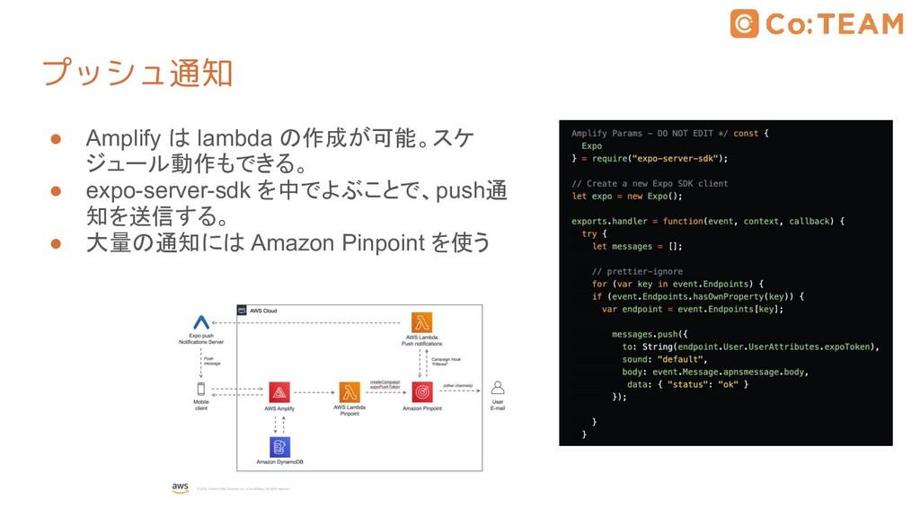 プッシュ通知 ● Amplify は lambda の作成が可能。スケ ジュール動作もできる。...