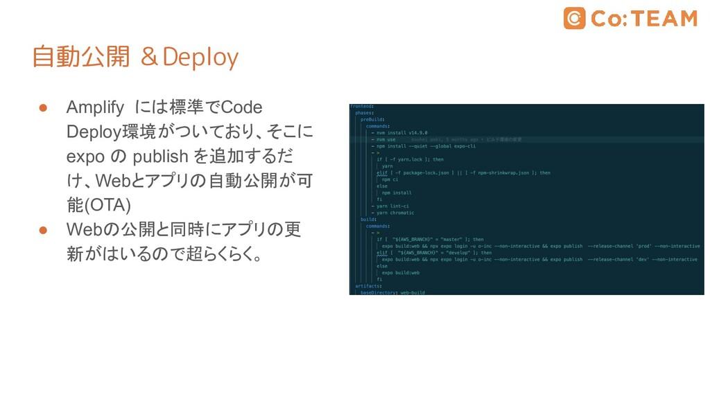 自動公開 &Deploy ● Amplify には標準でCode Deploy環境がついており...