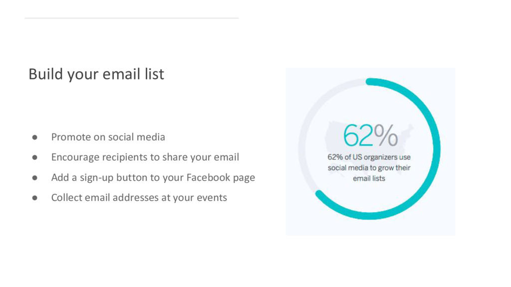 Build your email list ● Promote on social media...