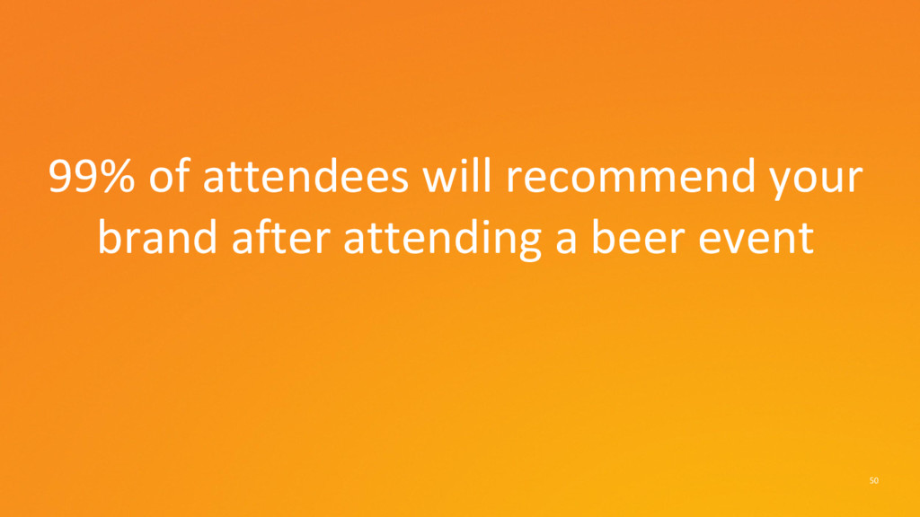50 99% of attendees will recommend your brand a...