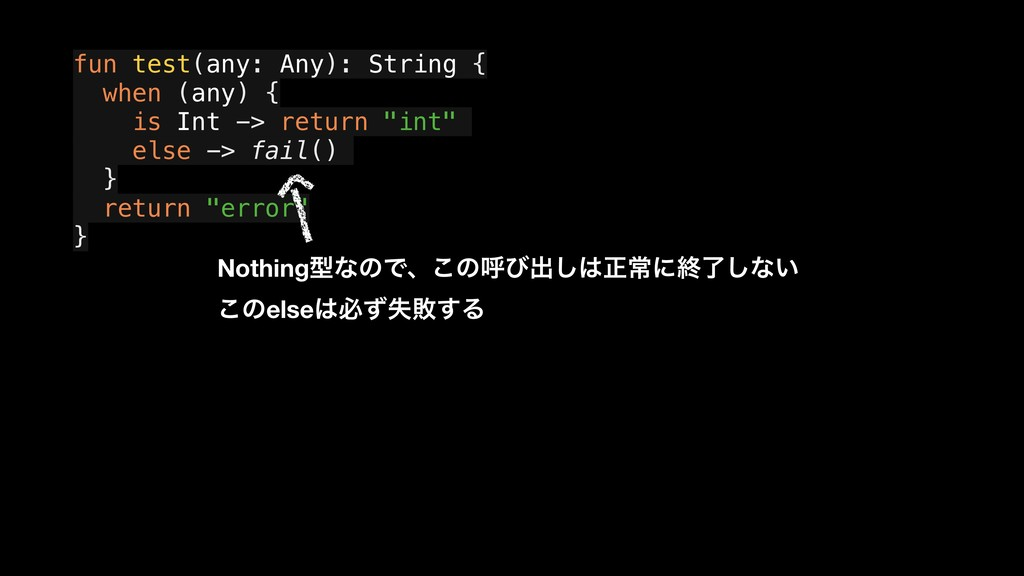 fun test(any: Any): String { a when (any) { a i...