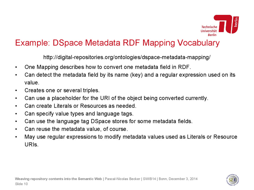 Example: DSpace Metadata RDF Mapping Vocabulary...