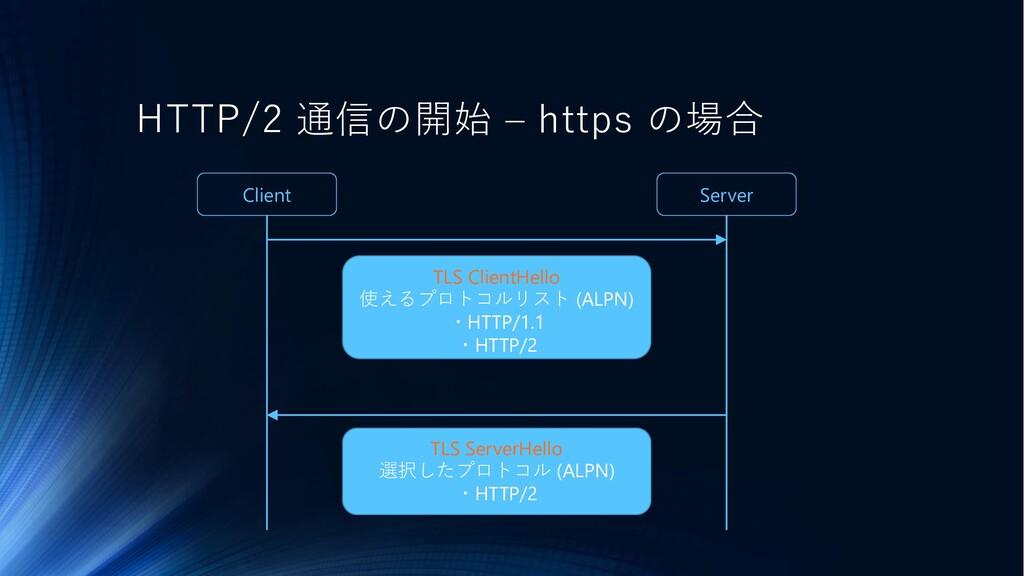 HTTP/2 通信の開始 – https の場合 TLS ClientHello 使えるプロト...