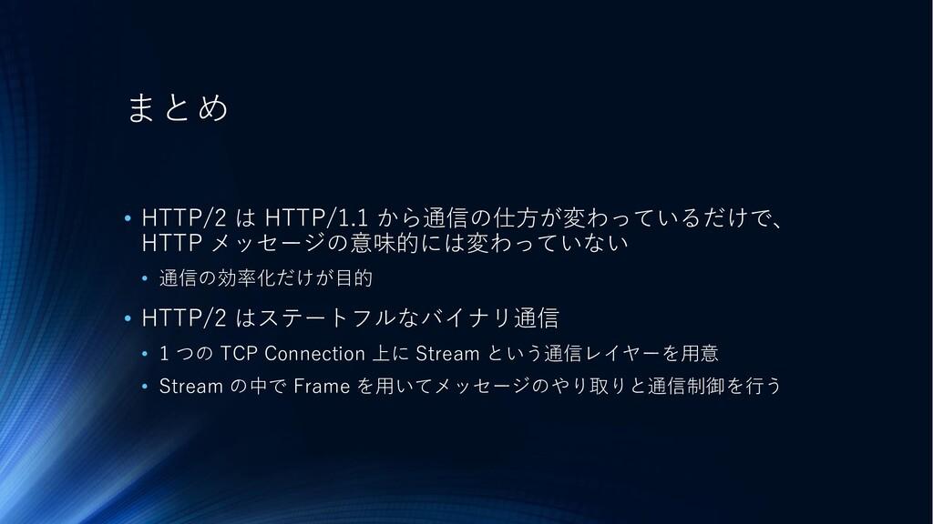 まとめ • HTTP/2 は HTTP/1.1 から通信の仕方が変わっているだけで、 HTTP...