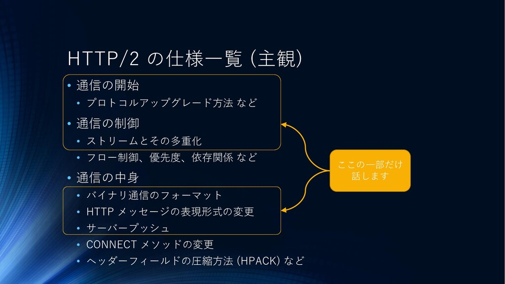 HTTP/2 の仕様一覧 (主観) • 通信の開始 • プロトコルアップグレード方法 など •...