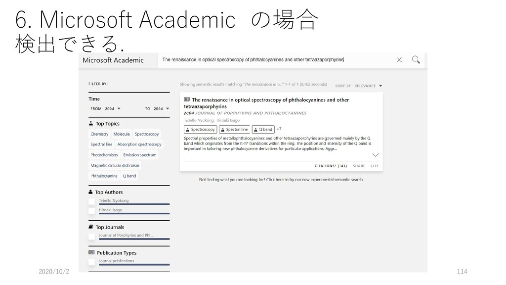 6. Microsoft Academic の場合 検出できる. 2020/10/2 114