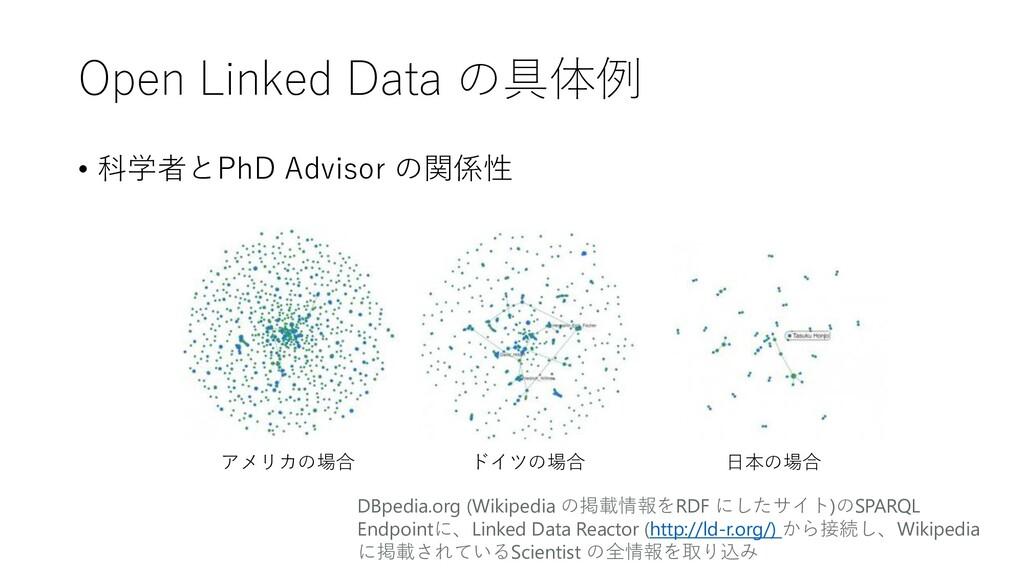 Open Linked Data の具体例 • 科学者とPhD Advisor の関係性 アメ...