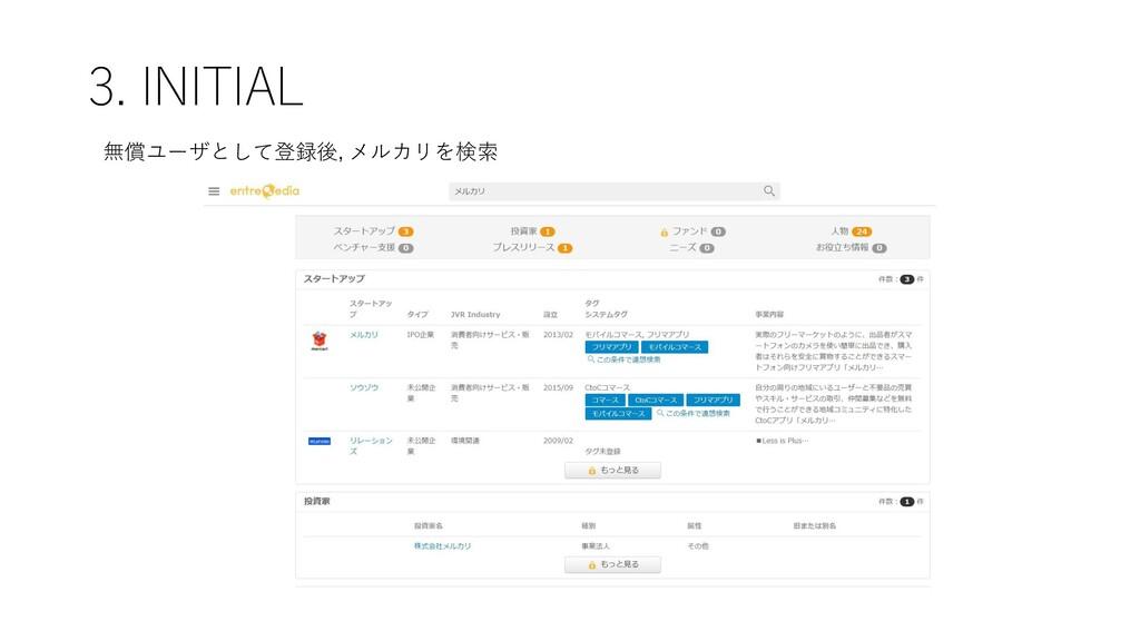 3. INITIAL 無償ユーザとして登録後, メルカリを検索