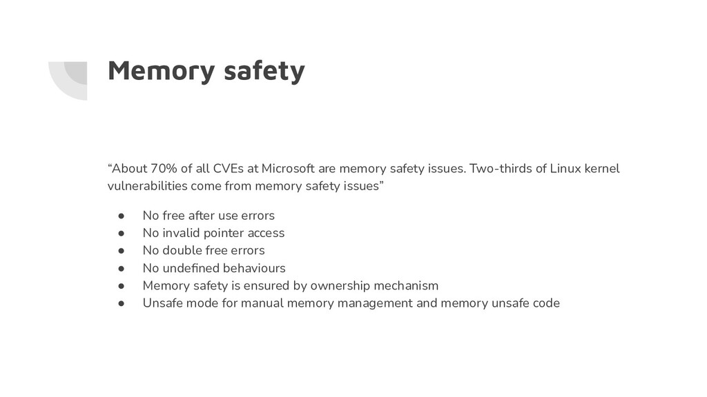 """Memory safety """"About 70% of all CVEs at Microso..."""