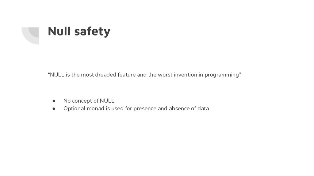 """Null safety """"NULL is the most dreaded feature a..."""