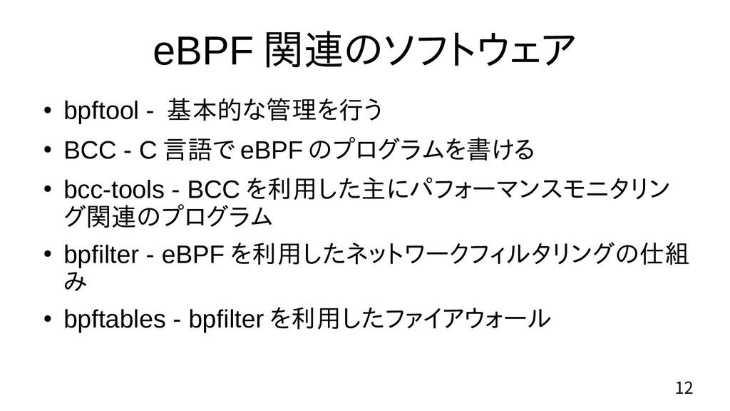 12 eBPF 関連のソフトウェア ● bpftool - 基本的な管理を行う ● BCC -...