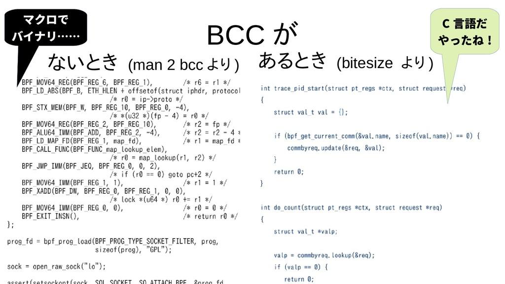 15 BCC が ないとき (man 2 bcc より ) あるとき (bitesize より...