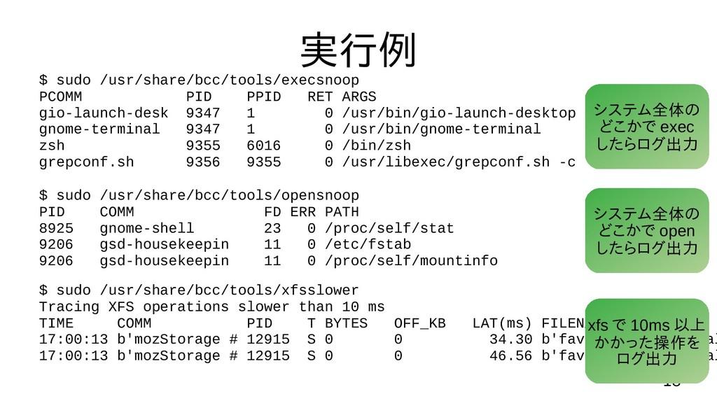 18 実行例 $ sudo /usr/share/bcc/tools/opensnoop PI...