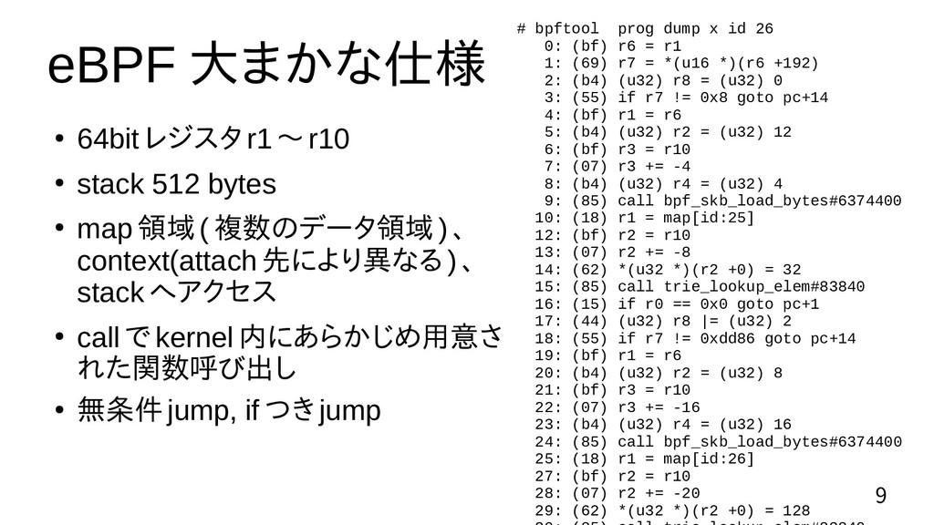9 eBPF 大まかな仕様 ● 64bit レジスタ r1 〜 r10 ● stack 512...