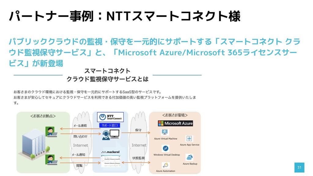 パートナー事例:NTTスマートコネクト様 31 パブリッククラウドの監視・保守を一元的にサポー...