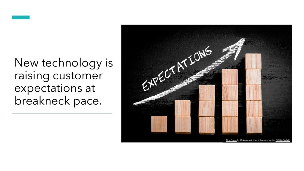 New technology is raising customer expectations...