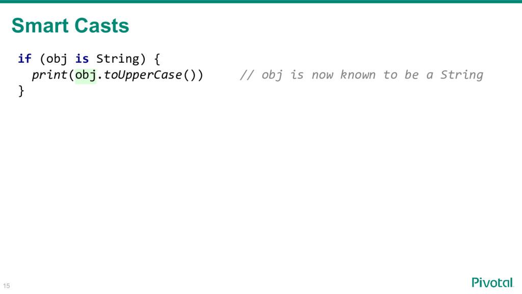 if (obj is String) { print(obj.toUpperCase()) /...