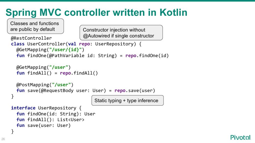 26 @RestController class UserController(val rep...