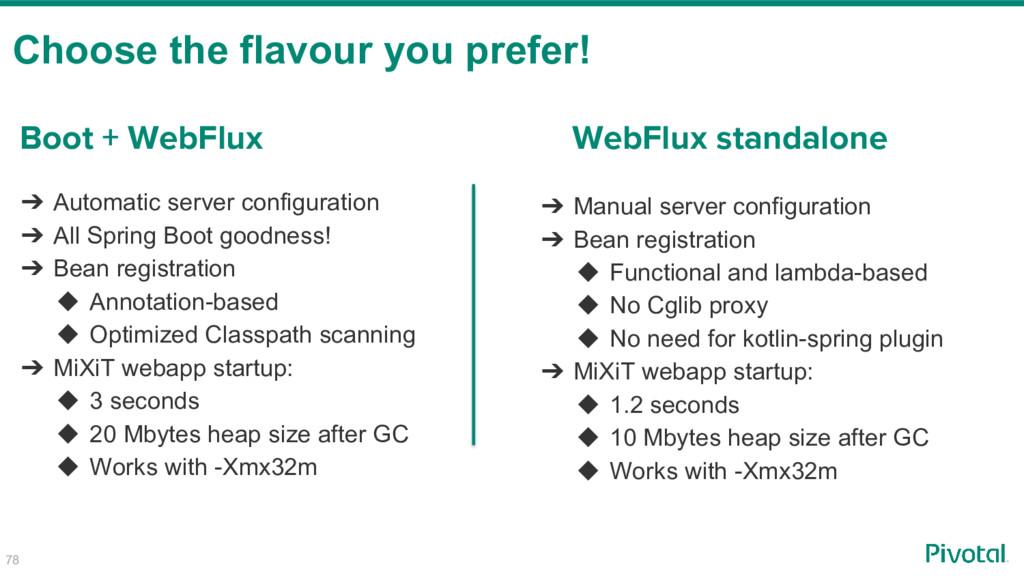 Choose the flavour you prefer! 78 Boot + WebFlu...