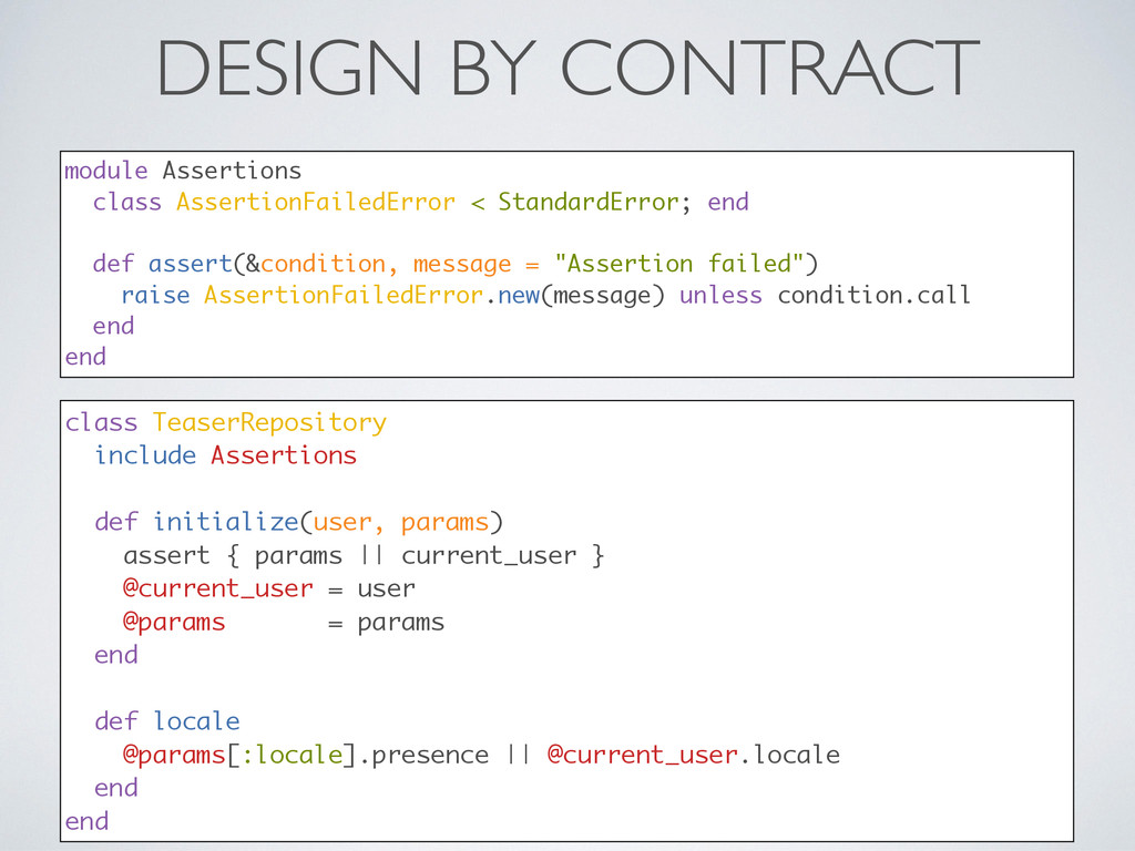 DESIGN BY CONTRACT class TeaserRepository inclu...